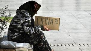 Beggar in Athens, 16 May 12 - sign says I&#039;m hungry