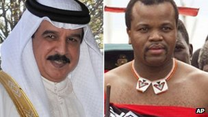 Bahrain's King Hamad al-Khalifa and Swaziland's King Mswati III are both expected