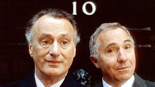 Paul Eddington as Jim Hacker and Nigel Hawthorne as Sir Humphrey in Yes Minister