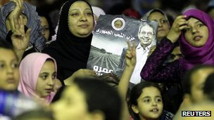 Supporters of Egyptian presidential candidate Amr Moussa at a rally