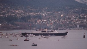 The Royal Yacht Britannia arriving in Vancouver, 1986