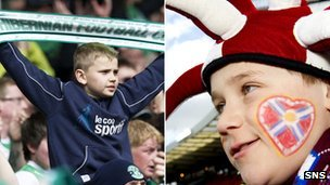 A young Hibs fan and a young Hearts fan