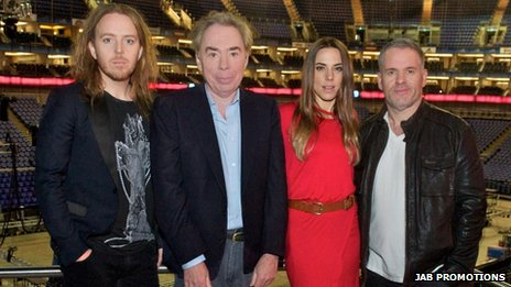 Andrew Lloyd Webber (second left), with cast members of the UK arena tour of Jesus Christ Superstar, Tim Minchin (Judas Iscariot) left, Melanie C (Mary Magdalene) and Chris Moyles (King Herod) right, which opens at London&quot;s O2 Arena on 21 September