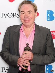 Lord Andrew Lloyd Webber with the Basca Fellowship award at the 2012 Ivor Novello awards held at the Grosvenor House Hotel, London