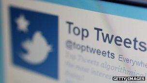 Close-up of Twitter webpage