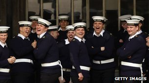Members of the Royal navy joke ahead of rehearsals