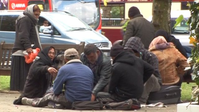 Rough sleepers and beggars in central London