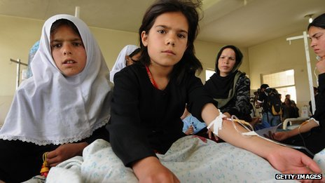 Afghan schoolgirls sit in a hospital in Mahmud Raqi