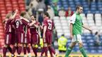Hearts players celebrate in the background as a dejected David Murphy trudges off the pitch following the Scottish Cup semi final defeat in 2006