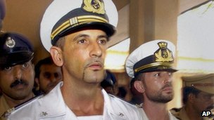 Italian marines Latore Massimiliano, left and Salvatore Girone arrive to appear before a court in Kollam in southern Kerala state, India, Monday, April 30, 2012.