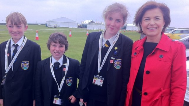 School Reporters in Cornwall with BBC presenter Jane Hill