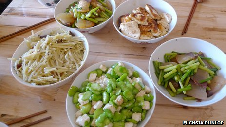 Bowls of food including stir-fried cheese with broad beans