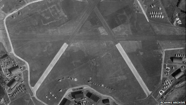 Archive aerial image from RCAHMS of RAF Kinloss