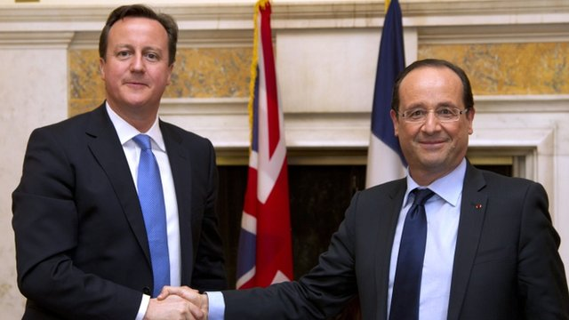 New French President Francois Hollande and British Prime Minister David Cameron shake hands in Washington