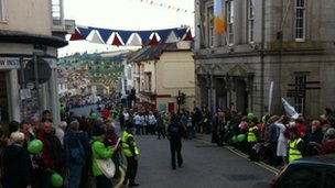 Crowds gather in Helston for Olympic flame