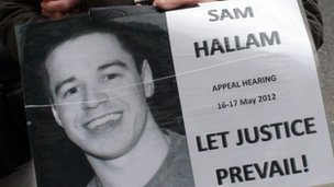 Support for Sam Hallam outside Court of Appeal