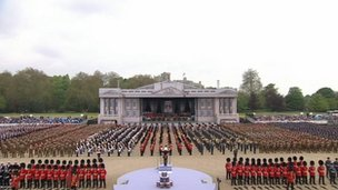 The armed forces gathered in a purpose built muster arena for the occasion, a short walk from Windsor Castle.