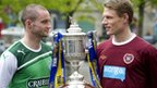 Hibs captain James McPake (left) and Hearts captain Marius Zaliukas