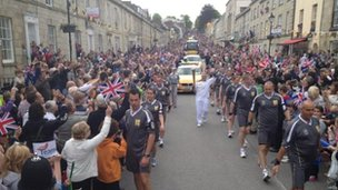 Crowds greet Olympic flame in Truro