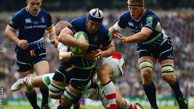 Sean O'Brien scores Leinster's opening try against Ulster