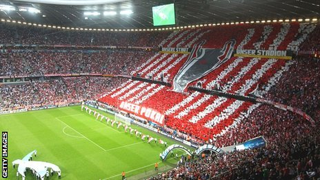 Bayern fans' mural at the Allianz Arena