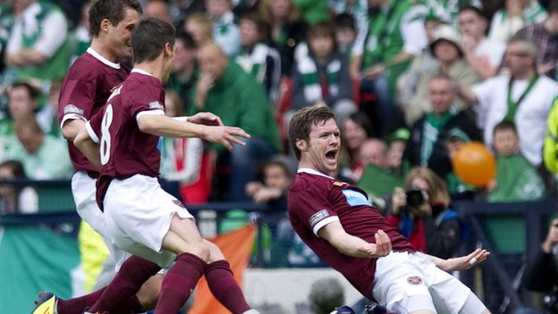 Darren Barr celebrates his goal in the Scottish Cup final