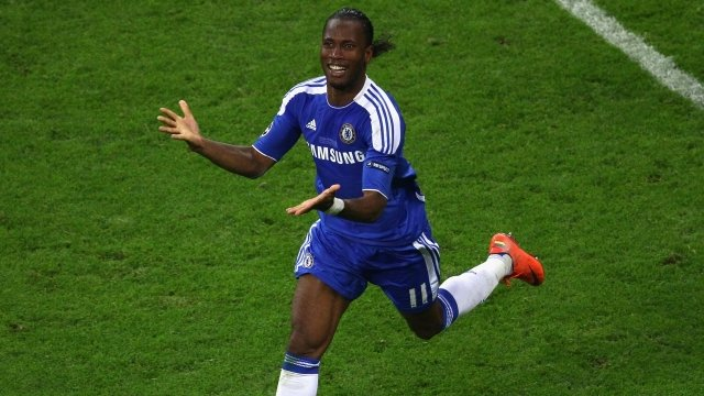 Chelsea striker Didier Drogba celebrates winning Champions League