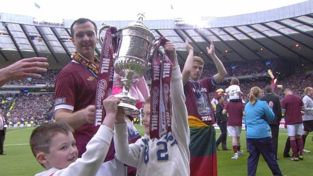 Cup celebrations from Hearts players and their family
