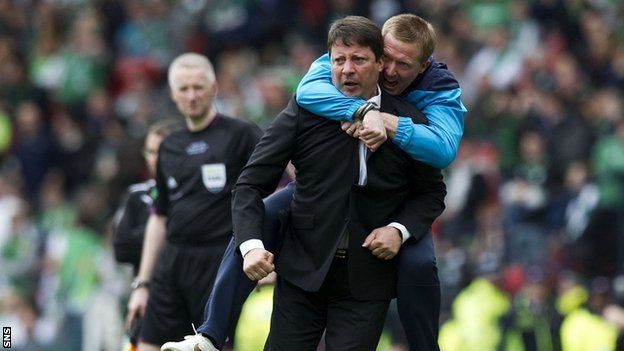 Hearts manager Paulo Sergio and coach Gary Locke
