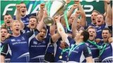 Leinster players celebrate after winning the Heineken Cup