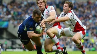Cian Healy scores Leinster's second try against Ulster