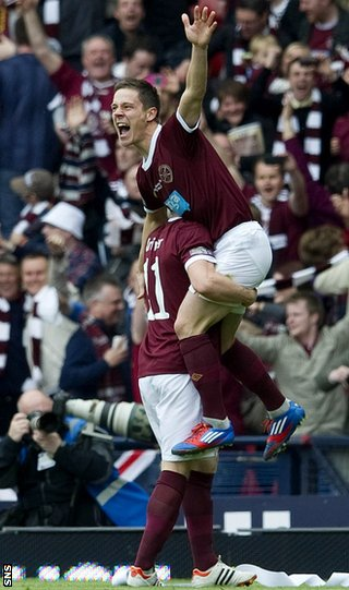 McGowan and Black celebrate the Australian&#039;s goal against Hibs at Hampden