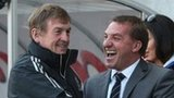 Liverpool boss Kenny Dalglish and Swansea manager Brendan Rodgers during their sides' Premier League encounter at Anfield