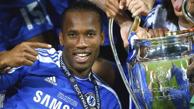 Didier Drogba with the Champions League trophy