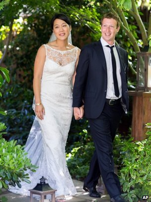 Priscilla Chan and Mark Zuckerberg at their wedding 19 May 2012