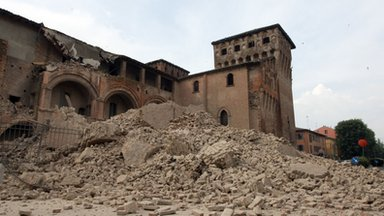 Damage to Castello delle Rocche, Finale Emilia after earthquake on 20/05/12