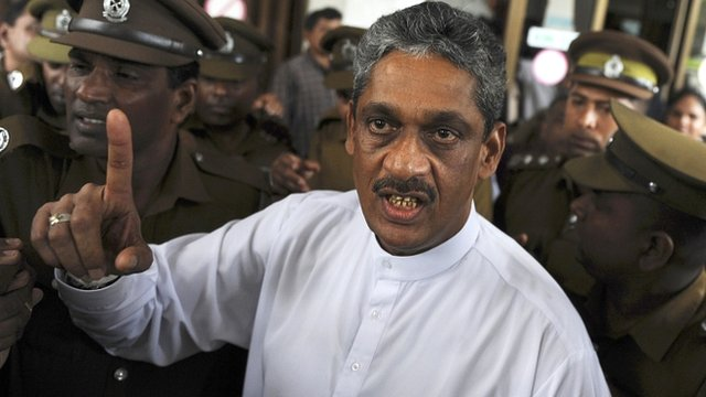 Sarath Fonseka pictured on 25 January 2012