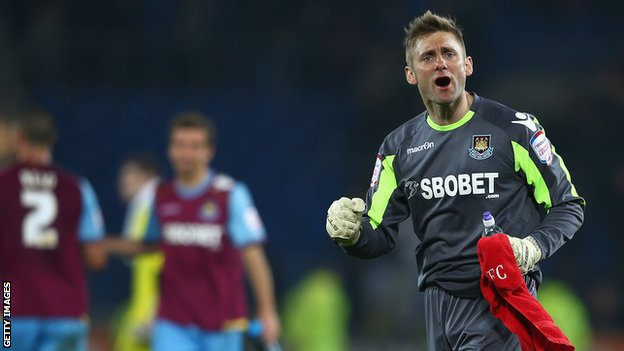 Rob Green celebrates West Ham's victory over Cardiff City
