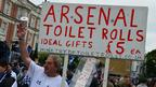 Man selling Arsenal toilet paper