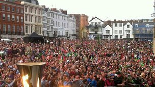 Crowd at flame event in Exeter