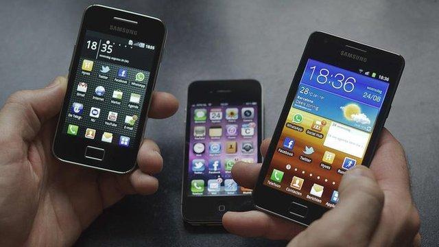 Apple and Samsung smartphones