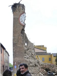 Ruined clock tower in Finale Emilia