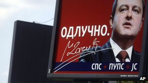 Election poster for Ivica Dacic and his Socialist Party in the May parliamentary elections
