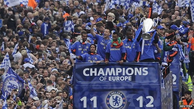 Chelsea celebrate Champions League win.