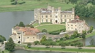 An aerial view of Leeds Castle
