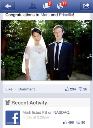 Mark and Priscilla's wedding photo on Facebook