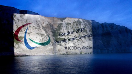 Paralympic symbol on the White Cliffs of Dover
