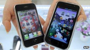 Apple iPhone and Samsung Galaxy smartphone