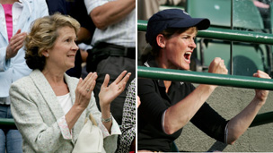 Tim Henman's mother Jane and Andy Murray's mother Judy celebrate during tennis victories