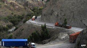 Lorries on Torkham border between Pakistan and Afghanistan - 20 May